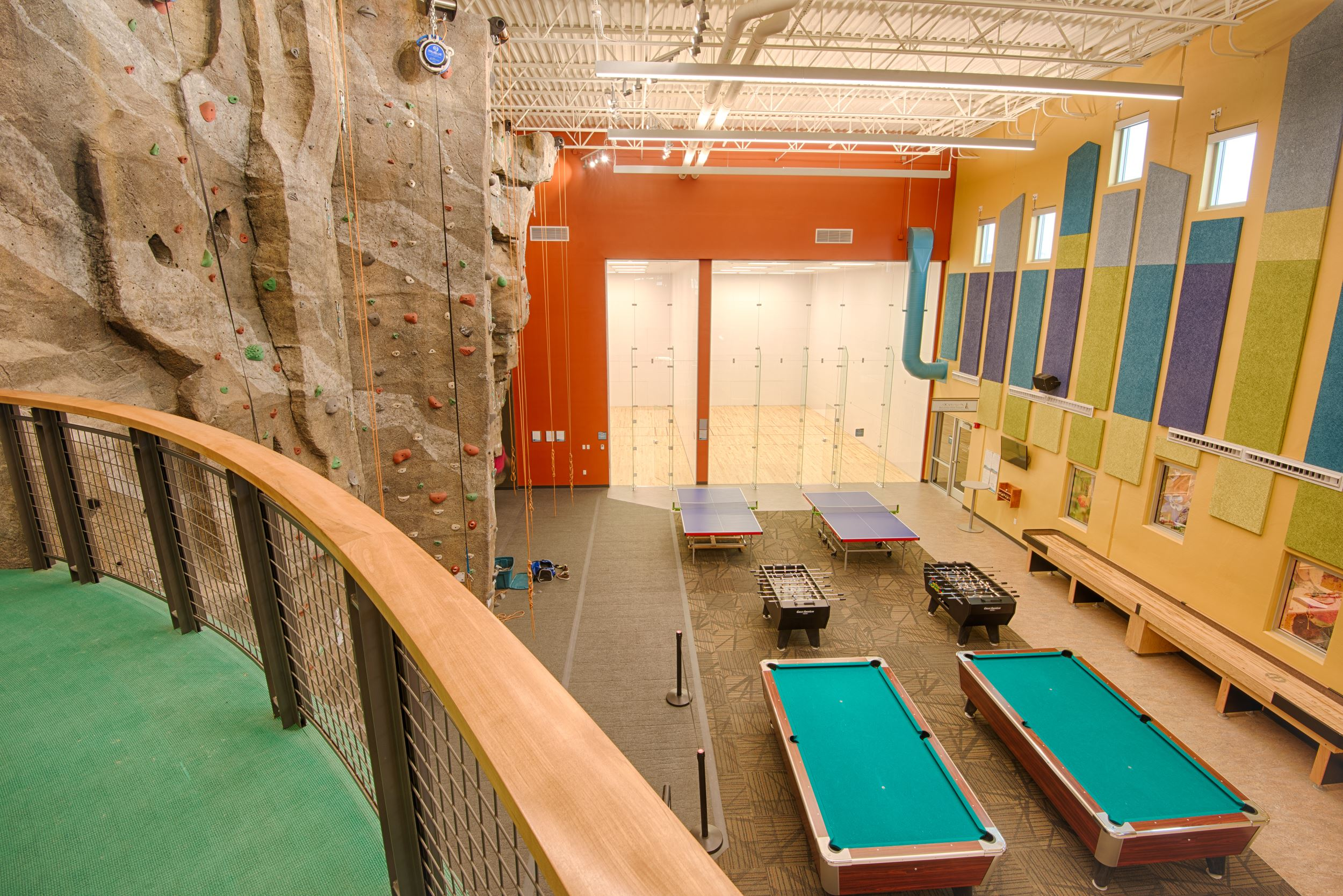 View of Game Room and Climbing Wall