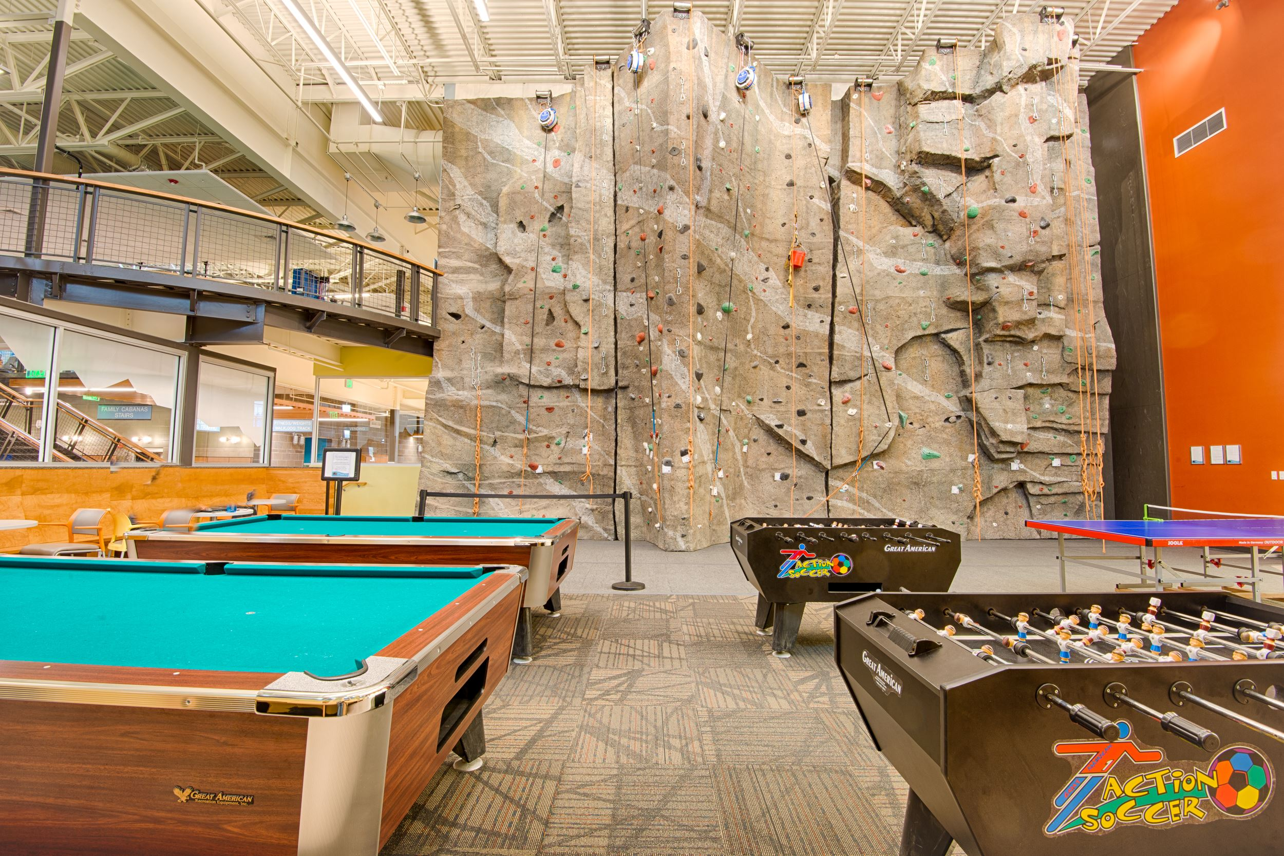 View of Climbing Wall from game room